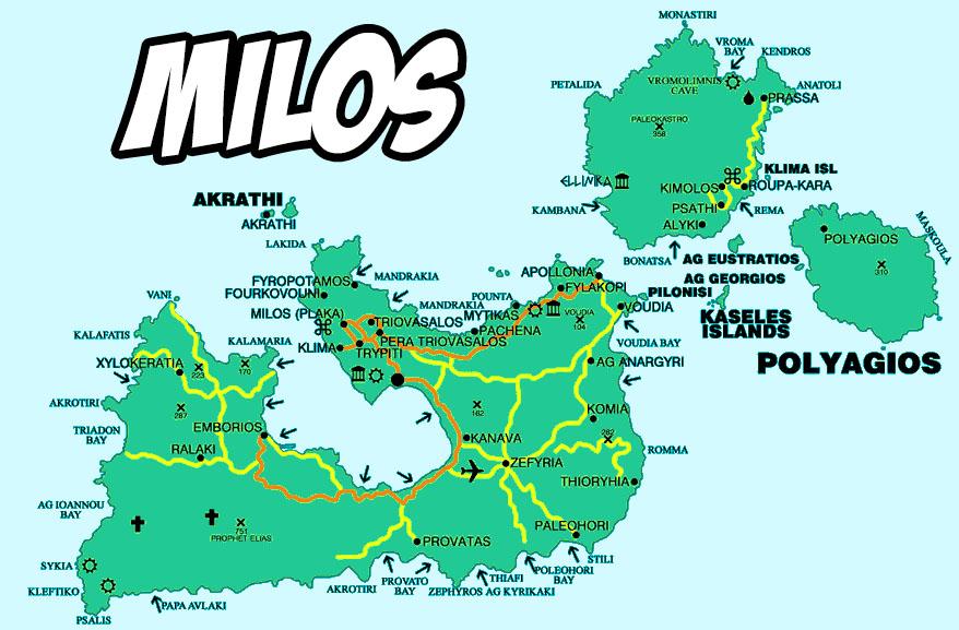 Isole Cicladi Cartina Geografica.Mappa Milos Milos Grecia